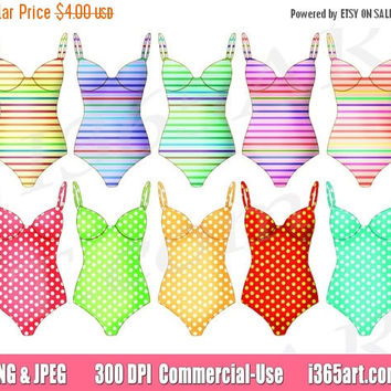 50% off sale Swimsuit Clipart, Swimsuit Clip art, Stripes, Polka Dot, One Piece, Swimwear, Bathing Suit, Swimming, Summer, Planner, Fashion
