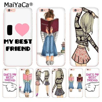 MaiYaCa Princess My Love Best Friends Emoji Transparent Cover Case for Apple iPhone 8 7 6 6S Plus X 5 5S SE 5C XS XR XSMAX