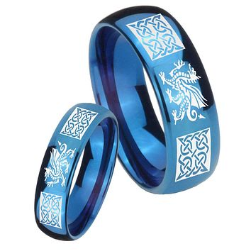 His Hers Mirror Blue Dome Multiple Dragon Celtic Tungsten Carbide Wedding Rings Set
