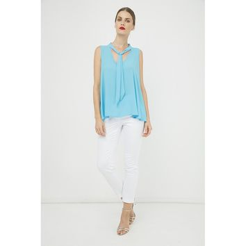 Turquoise V-Neck Sleeveless Top