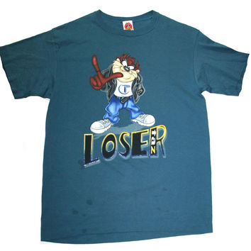 "Vintage 90s Looney Tunes Taz ""Loser"" Shirt Mens Size Large"