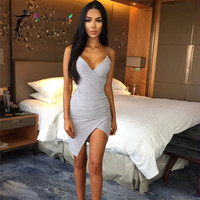 Fashion 2016 autumn dress sexy Deep v neck clubwear asymmetric fork bodycon women mini dress evening party dresses clothing