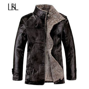 Trendy Vintage PU Leather Jackets Men's Winter Warm Thicken Faux Fur Fleece Liner Men Jacket Windproof Stand Collar Slim Fit Male Coat AT_94_13