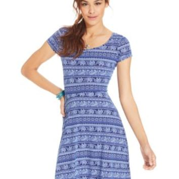 Ultra Flirt Cap-Sleeve Printed Skater Dress | macys.com