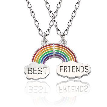 Trendy 2 Pcs/set Rainbow Pendant Necklace Stitching Best Friends Style Necklace BFF Silver Chain For Good Friend's Gift