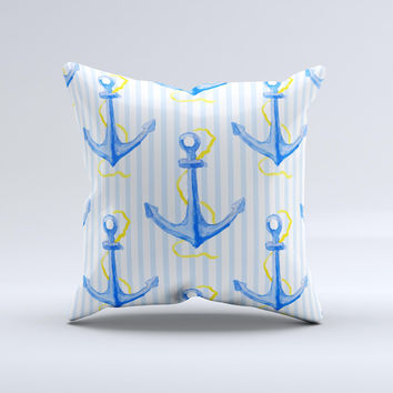 The Striped Blue and Gold Watercolor Anchor ink-Fuzed Decorative Throw Pillow