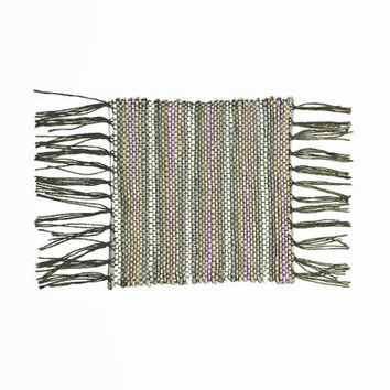 "Handwoven Coaster, Shabby Chic, Woven with Traditional Japanese Paper ""Washi"" (Plant Fiber) and Cotton in shades of Lavender and Gray"