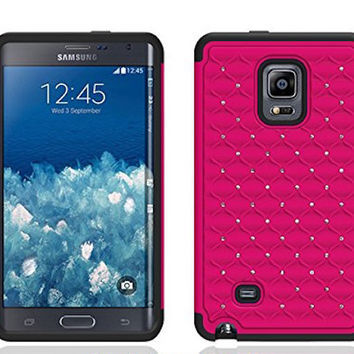 Galaxy Note 4 Case, Crystal Rhinestone Studded Hybrid Dual Layer Shock Absorbent Case for Samsung Galaxy Note 4 - Hot Pink/Black