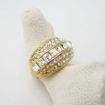 Christian Dior Rhinestone Ring Germany Vintage Jewelry R6471