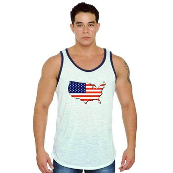 USA Flag Tank Top Men's Love For Your Country WHITE