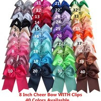 40 Colors Available 8 inch Cheer Bow WITH Extra Clips Cheer leading bow Large hair bow Hairpins Baby/Girl Hairbow 40 pcs/lot