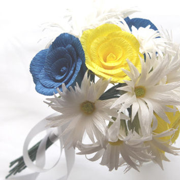Daysies Yellow  and Royal Blue Roses Bouquet, Wedding Bouquet, Bridesmaids Bouquet, Paper Flowers Bouquet, Bridal Bouquet, Centerpiece decor