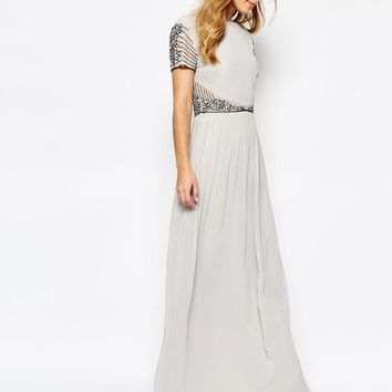Maya | Maya Cap Sleeve Maxi Dress with Embellished Waist Detail at ASOS