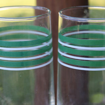 Vintage glassware, barware glasses, set of 6 green and white striped MCM tumblers/ glasses, RETRO lemonade glasses, Mid Century glassware