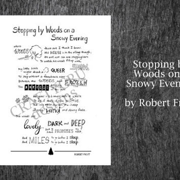 Robert Frost poem Print, Literature Printable Instant download, Stopping by Woods on a snowy evening, lettering, Robert Frost Framed Poem