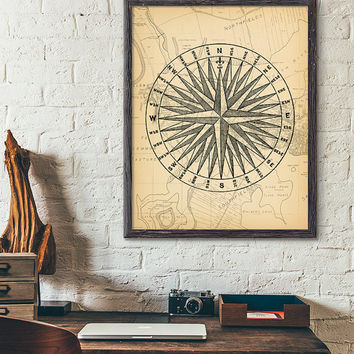 Vintage Nautical Compass Printable, Compass and Map Wall Art, Beach House Decor, Antique Wall Art, Seaside decor, Marine Compass Printable