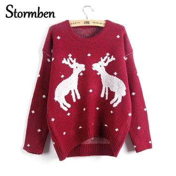 Christmas pullover sweater women elk knitted print Loose Long Sleeve one size Sweaters Pull Femme SBK2-8