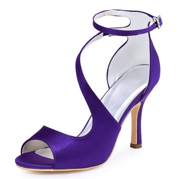 HP1565 Purple Women Bride Bridesmaids Pumps Peep Toe High Stiletto Heel 3''Buckles Satin Wedding Bridal Party Prom Shoes