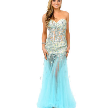 Mint & Nude Beaded Strapless Sweetheart Illusion Tulle Mermaid Gown 2015 Prom Dresses