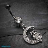 Sparkling Midnight Owl on Moon Belly Button Ring