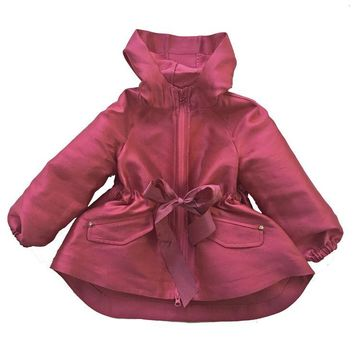 MiMiSol - Girls Satin Raspberry Lightweight Parka Jacket Summer Windbreaker Coat
