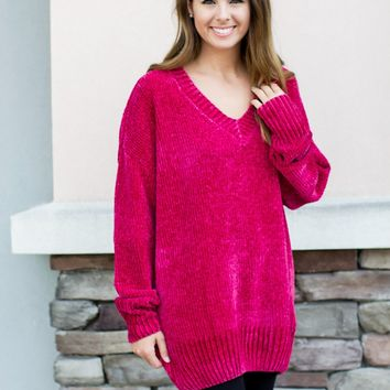 Made For Chenille Sweater - Magenta
