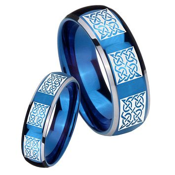 His Her Glossy Blue Dome Multipe Square Celtic Two Tone Tungsten Wedding Rings Set