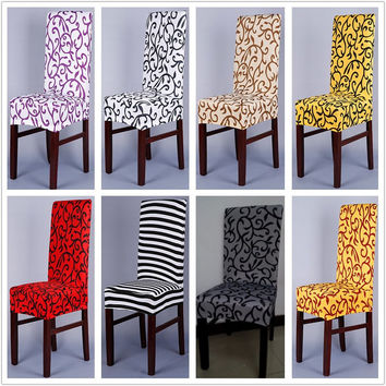 1 Piece Sure Fit Soft Stretch Spandex Pattern Chair Covers For Kitchen Chair Short Dining Chair Cover Purple Grey Champagne V43