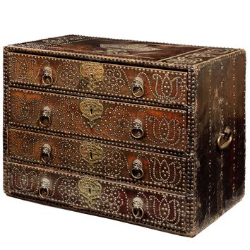 Queen Anne's Leather Studded Linen Chest