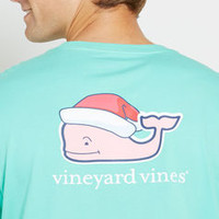 Men's T-Shirts: Long-Sleeve Santa Hat Graphic Pocket T-Shirt for Men - Vineyard Vines