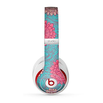 The Pink & Blue Floral Illustration Skin for the Beats by Dre Studio (2013+ Version) Headphones