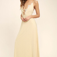 Sway With Me Beige Embroidered Maxi Dress