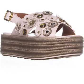 Coach Espadrilles Sandal Ankle Strap Sandals, Chalk, 8 US