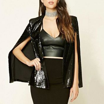 DoreenBow New High Quality Women Fashion Cloak Blazer Autumn Spring Bling Sequins Black Hollow Sexy Blazers Jackets, 1 Piece