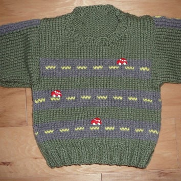 Toddler Sweater - Green Road with Car Buttons - Size 2T