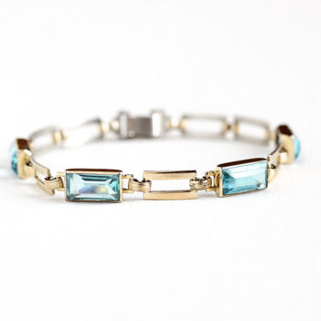 Vintage 14k Rosy Yellow Gold Over Sterling Silver Aqua Blue Glass Stone Bracelet - Retro 1940s Panel Link Open Back March Birthstone Jewelry