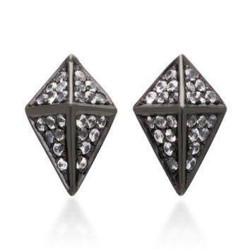 Pyramid Black Rhodium Sapphire Earrings | Moda Operandi