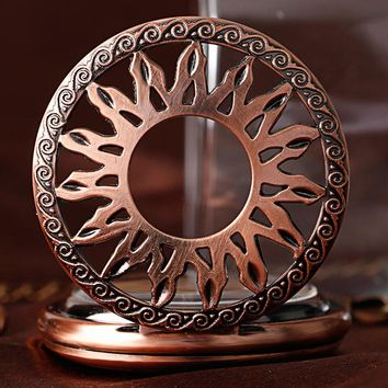 Flame Sun Automatic Mechanical Pocket Watch for Men Women Vintage Rose Copper Self Winding Pendant Fob Chain Nurse Clock Gifts