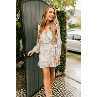 Typical Lover Floral Wrap Dress (Ivory/Blush)