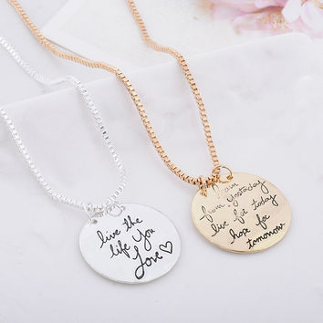 Fashion Lettering Pendant Necklace [7495454471]