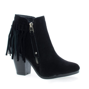 Gail26 Black F-Suede by Breckelle's, Black Suede Cowgirl Back Fringe Zip Up Chunky Stacked Heel Ankle Boots