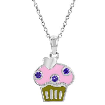 925 Sterling Silver Colorful Enamel Cupcake Pendant Necklace for Children 16""