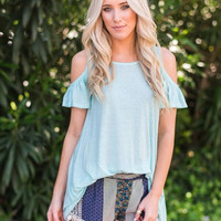 Mint Open Ruffled Tunic