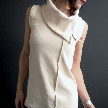 Asymmetric Cowl Top, Womens Ivory Top, Sleeveless Jersey Top, Handmade Top, Shift Top, Solid Color Top, Retro Futuristic, Mod Style
