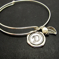 Personalized Sterling Silver, Adjustable Bracelet, Initial Stamped Bracelet Friendship, Bridesmaid, Mothers Gift, Wedding, Stacking Bangles