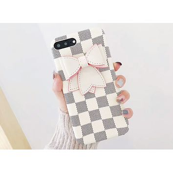 GUCCI 2018 new bow female iPhonex leather case 6plus shatter-resistant soft shell F-OF-SJK white