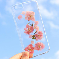 Pink Flower Case 100% Handmade Dried Flowers Cover for iPhone 7 7Plus & iPhone 6 6s Plus + Gift Box B61