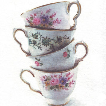 HM091 Watercolor art painting Classic Teacups Stack by Helga McLeod