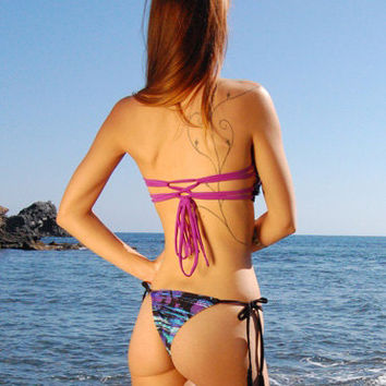 Brazilian Thong String Bikini Bottom SUNSET in Ocean, by MAKANI DREAM Swimwear