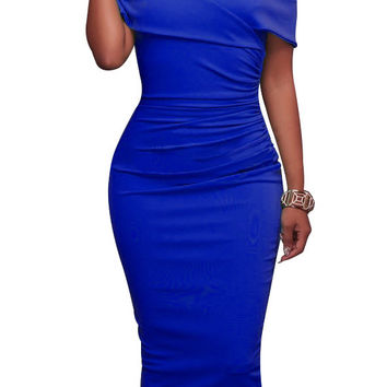 Off Shoulder Short Sleeves Pure Color Bodycon Knee-length Dress